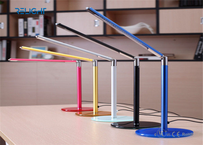 Tempered Toughened Glass Alloy LED Desk Lamp Dimmable and Foldable USB Charging Port Long Lifespan